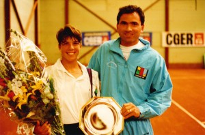 Nick Saviano and Jennifer Capriati 300x198 Engage in positive self talk while you are playing a tennis match