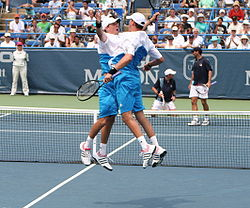 Bryan brothers Discussing USA v Brazil Davis Cup tennis match
